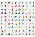 100 couple icons set isometric 3d style vector image