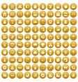 100 nursery school icons set gold vector image vector image