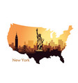 abstract city skyline with sights new york vector image vector image
