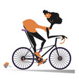 african woman rides a bike isolated vector image vector image