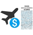 Airplane Price Icon with 1000 Medical Business