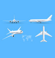airplanes on blue background industrial blueprint vector image