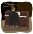 back view of young man playing brown upright piano vector image vector image