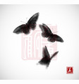 big butterfly hand drawn with ink on white vector image vector image