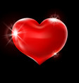 big red heart on a black background celebration vector image vector image