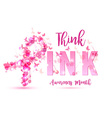 Breast cancer awareness concept pink ribbon vector image vector image