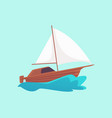 cartoon wooden motorboat with white sail riding a vector image vector image