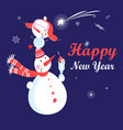 christmas bright card with funny snowmen and vector image vector image