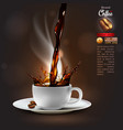 coffee advertising design with a splash effect vector image