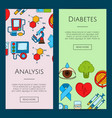 colored diabetes icons web banner vector image