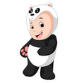 cute baby boy wearing a panda bear suit vector image