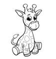 cute cartoon infant giraffe for coloring book vector image