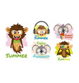 cute tropical animal collection vector image vector image