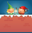 elves girl and boy with lantern on snowy wall vector image vector image