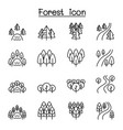 forest lake river park landscape icon set in thin vector image