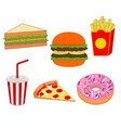 fresh unhealthy fast food icon set vector image