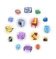 furniture comics icons set vector image vector image