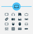 gadget icons set with floppy disk laptop tv and vector image vector image