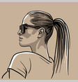 girl in sunglasses with ponytail hairstyle vector image