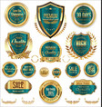 golden sale shields laurel wreaths and badges vector image vector image