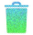 halftone blue-green trash bin icon vector image vector image