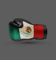 isolated boxing glove mexican flag realistic 3d vector image vector image