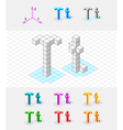 Isometric font from the cubes Letter T vector image
