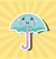 kawaii happy umbrella cartoon weather vector image vector image