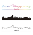 leeds skyline linear style with rainbow vector image vector image