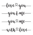love calligraphy set vector image vector image