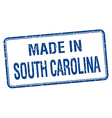 made in South Carolina blue square isolated stamp vector image vector image