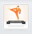 man in orange kimono and boxing gloves training vector image vector image