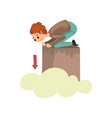 man suffering from acrophobia guy feeling fear of vector image vector image