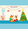 merry christmas and happy new year children home vector image vector image