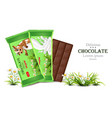 milk chocolate bar mock up product packaging vector image
