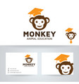 monkey education logo design vector image vector image