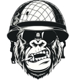 Monkey soldier with a cigarette vector image vector image