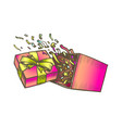 opened gift box with confetti explosion color vector image vector image