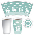 paper cup template with sailing ships in the sea vector image vector image