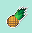 pineapple sticker on blue background colorful vector image