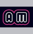 pink white blue alphabet combination letter am a vector image vector image
