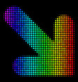 rainbow colored pixel arrow down right icon vector image vector image