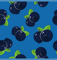 seamless pattern blueberries on blue background vector image