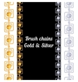 set chains metal brushes - gold and silver vector image vector image