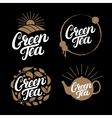 set green tea hand written lettering logos vector image vector image