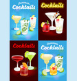 set summer cocktails poster vector image