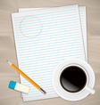 Sheets of paper rubber and pencil vector image