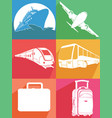 silhouette airplane ship train transportation icon vector image