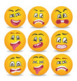 smiley faces with different facial expressions vector image vector image