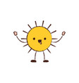 sun kawaii caricature in blurred color silhouette vector image vector image
